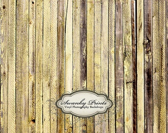 IN STOCK / Fast Shipping / 3ft x 2ft Vinyl Photography Backdrop / Light Dark Yellow Wood