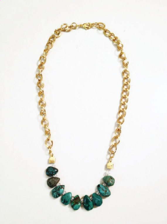 Gold Chain and Turquoise Necklace