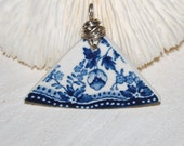 Blue and white pottery sea glass style recycled pendant