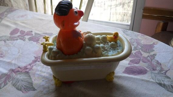 Vintage Sesame Street Ernie Wheeled Toy Bathtub Rubber Ducky