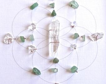 Crystal Grid -- HEART CHAKRA --- framed --- green aventurine, clear quartz, sacred geometry