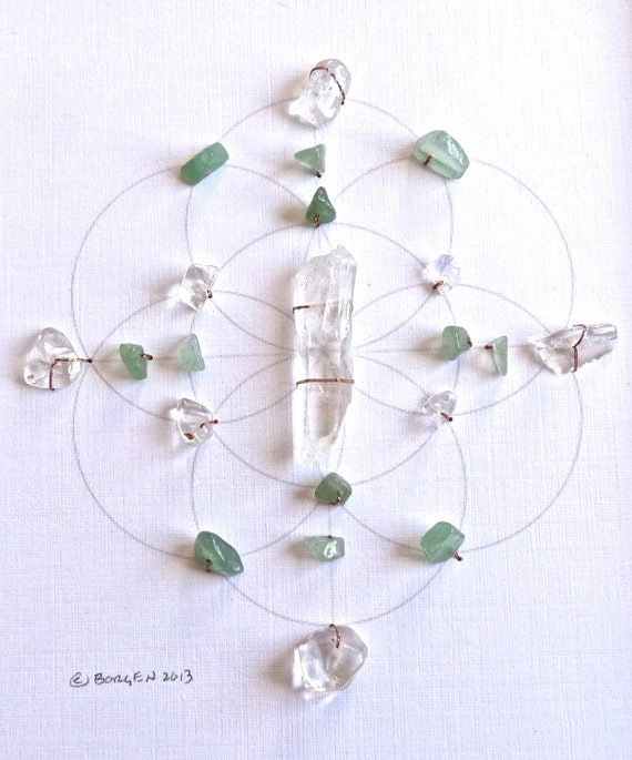 Crystal Grid -- HEART CHAKRA --- framed --- green aventurine, clear quartz, sacred geometry