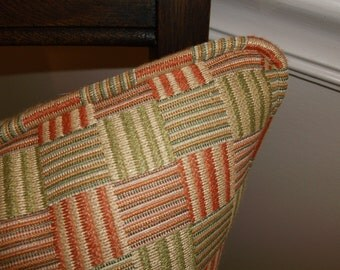 REDUCED Rich moss Green & Ripe Melon Accent Pillows, Piping Trim  Same Fabric As Pillows, Heavy Duty Woven Geometric Designer Fabric Pillows