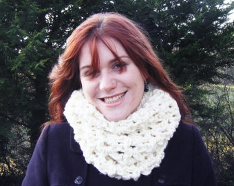 Winter White Crochet Cowl Big Super Chunky Scarf
