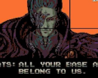Cross-stitch Pattern, All Your Base Are Belong to Us cross stitch,  Zero Wing cross stitch, video games cross stitch, gamer pattern, geek