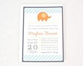 Elephant Baby Shower Invitation for boy or girl Orange & Blue Custom colors - digital printable PDF file
