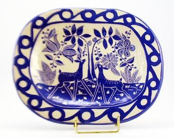 Handmade PLATTER with DEER in Porcelain Blue & White Pottery SGRAFFITO Landscape Garden Carved