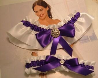 Wedding Garter Set, Purple and White Garter Set, Bridal Garter, White Satin,Keepsake Garters.