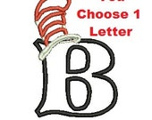 Cat in the Hat Applique, Embroidery Applique, Machine Embroidery Designs, Choose Any 1 Letter