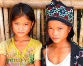 Travel Photography, Laos, Children of the World, Girls, Fine Art Print, Large Wall Art, Ethnic Home Decor, Boho Portrait, World Traveler