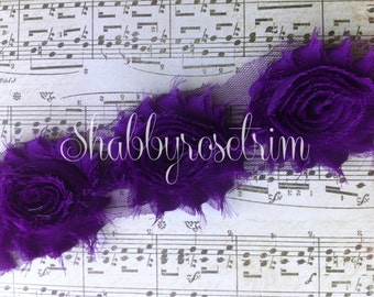 1/2 Yard Dark Purple Chiffon Flower Shabby Rose Trim