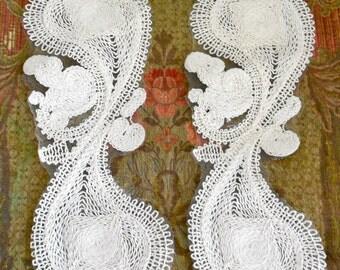 Ecru Cotton Paisley Appliques