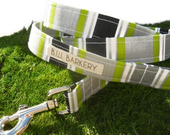 "Dog leash from the ""Havana"" collection...Grey,lime,black and white stripe...Any size..."