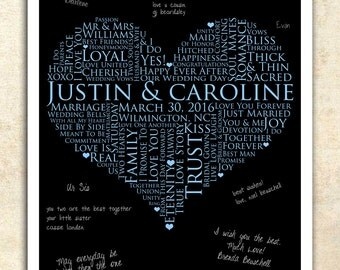 personalized wedding word art, WEDDING GUESTBOOK SIGNATURE poster, 11x17 Signature Guest Book, Wedding heart Guestbook, love words poster
