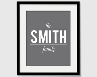 Family Name Sign - Wedding Anniversary Art Print - Love Poster Gift - Wall Art Gallery Wall gift