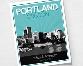 Portland Oregon Wedding Gift - Personalized - Anniversary - Custom Date - Location City and State Modern Art Print - 8x10