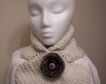 SALE Ladies Neck Scarf Ascot Style, Cowl Neck,  Decorated with a Removable Broche in a warm soft color of Pristine
