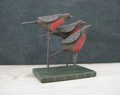 "Folk Art Three Red Robins on Folk Art Rustic Painted Green Wood Base, ""To the Trees"""