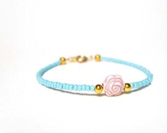 Girls Rose Bracelet, Beaded Childrens Bracelet, Flower Girl Bracelet, Childrens Jewelry UK