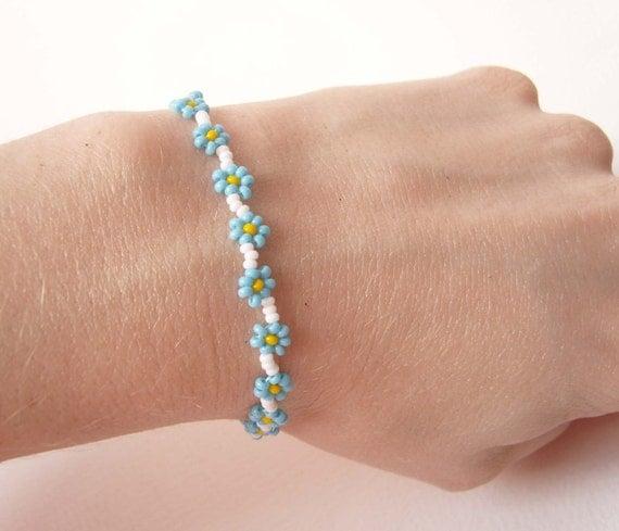 blue chain bracelet bead woven flower bracelet blue