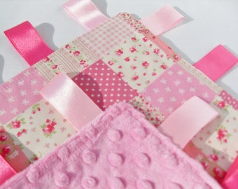 Minky Taggie blanket toddler comforter pink patchwork - Choose your Minky Colour