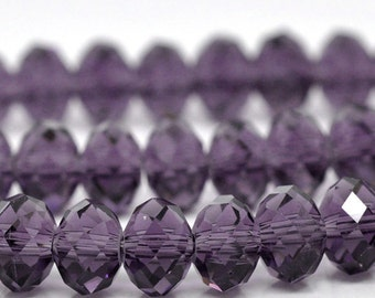 Violet Rondelle Beads 5040 Crystal Glass Faceted 8x6mm 36pcs apx - Ships Immediately from California - B504a