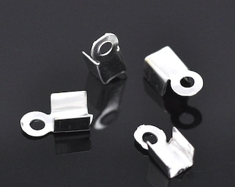 100 Silver Cord Crimp End Caps with Loops 9x4mm - Ships IMMEDIATELY  from California - F86