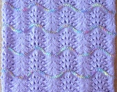 NEW Handmade PURPLE Knit Crochet BABY Afghan Blanket Throw Newborn Infant Wave Trim Lavender Lilac
