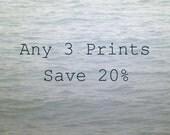 Custom Photograph Set, Your Choice of 3 Photos, Save 20%, Fine Art Photography Prints, Nature Picture Set