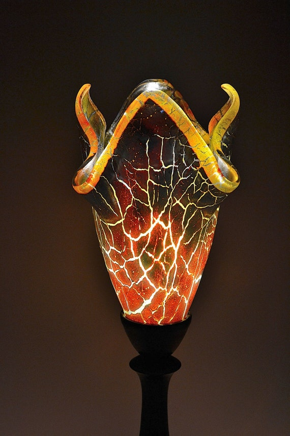 Modern Abstract Fused Glass Table Lamp