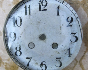 """Vintage Clock Face Clock Paperweight Shabby White Home Decor Office Decor Glass Paperweight Gift Idea 2 3/8"""" Diameter 1/2"""" Thick"""