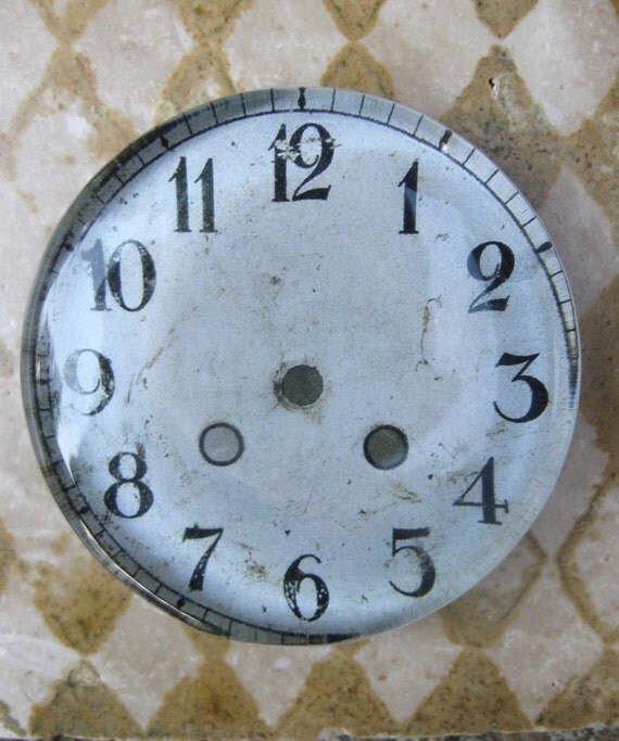 "Vintage Clock Face Clock Paperweight Shabby White Home Decor Office Decor Glass Paperweight Gift Idea 2 3/8"" Diameter 1/2"" Thick"