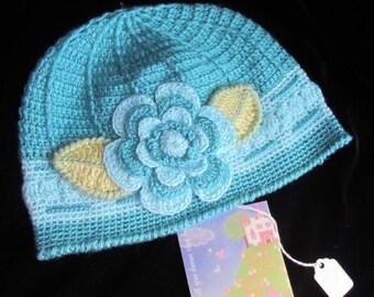 Crochet Girls Hat Turqouise Flower Beanie Crochet Baby Girls Hat Crochet Toddler Girls Hat Crochet Girl Beanie Gift