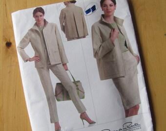 Uncut Vogue 2854 Sewing Pattern - Oscar de la Renta -  Misses Jacket, Skirt and Pants - Size 12- 16