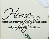 Wall Quote Sticker Decal - Home, Where You Treat Your Friends Like Family
