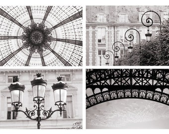 Paris Photography Set - Black and White Architectural Details Collection, Urban Wall Decor, French Travel Photographs