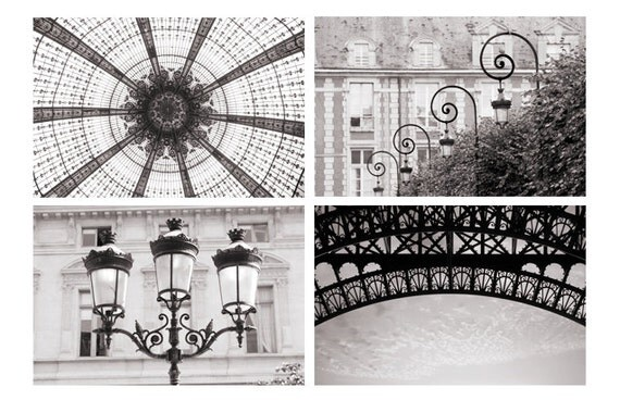 Paris photography set black and white architectural details for Black and white paris wall mural