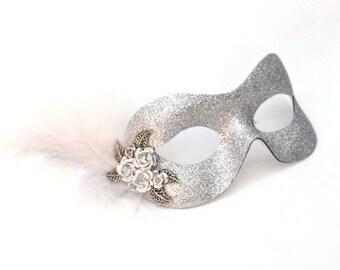 Petite Silver Metal Flower Masquerade Eye Mask