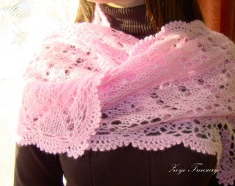 Pink Mohair Scarf with Crocheted Edge