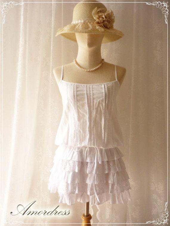 White Summer Time Blouse Sweet Girl Memory Dreamy Blouse -S-M