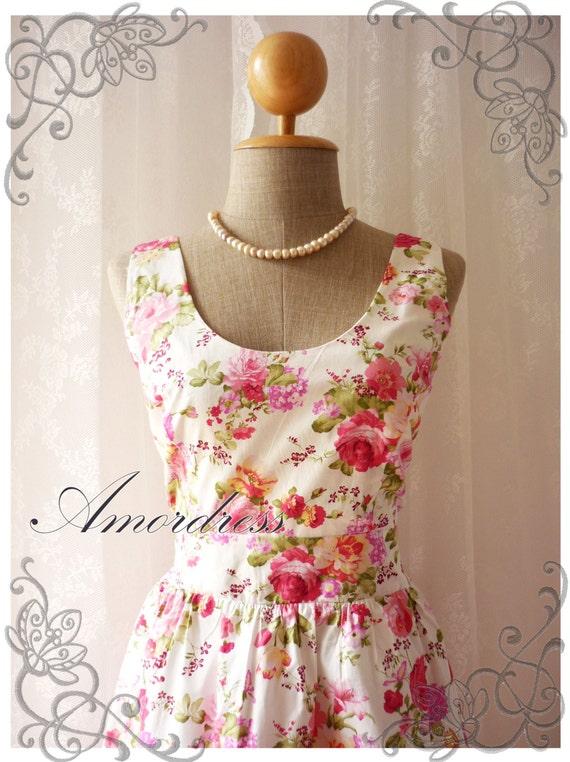 Summer Floral Dress Floral Princess Vintage Inspired Pink Rose Dress Tea Dress Party Cocktail Wedding Birthday Dress -Size S-M-