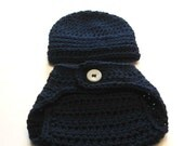 Diaper cover and hat set.  Newborn beanie and diaper cover.  Made to order.  Navy blue.  Baby boy photography prop or baby shower gift.