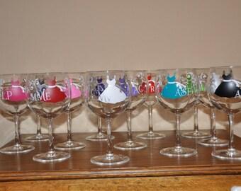 Bridesmaids gift, wine glasses, bachelorette party