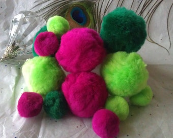 """Giant PomPom Beads in Neon Colors, Just slightly below 2"""" in diameter, Soft Fluffy"""