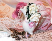 Sweet Porcelain Vintage Mini PItcher with Rose Bouquet, Hand Dyed Seam Binding & Lace Necklace