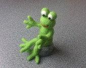 Frog sitting on rock eco friendly needle felted gift under 50