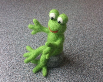 Frog sitting on rock eco friendly needle felted gift under 50