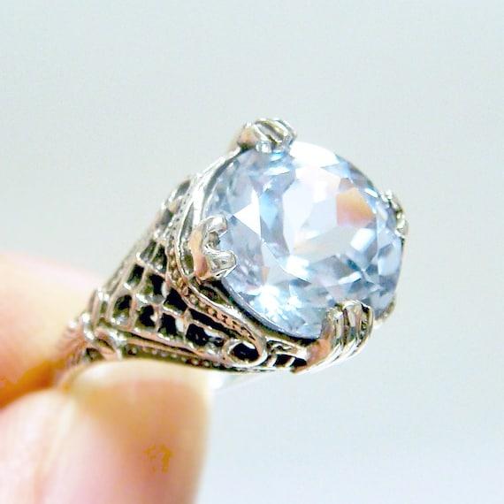 Aquamarine Filigree Sterling Silver .925 Ring