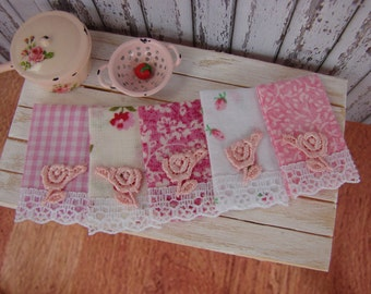 Dollhouse Miniature Shabby Chic Kitchen Set of Five Tea Towels Pink Designs