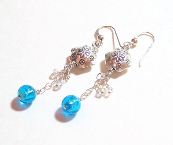 Murano Glass Aqua Ball Sterling Silver Dangle Earrings, Venetian Jewelry, Italian Jewelry, Leverback Earrings